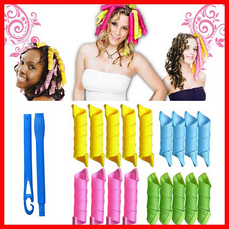 Newest 18 pcs  Hair Curlers Fashion Rollers Magic Curler Rollers + 2pcs Hooks Plastic Hair Rollers Pear Head Hooks#MUBR072 magic hair 2015 gorra unprocesseds from16 18 20 22 24 magic 100