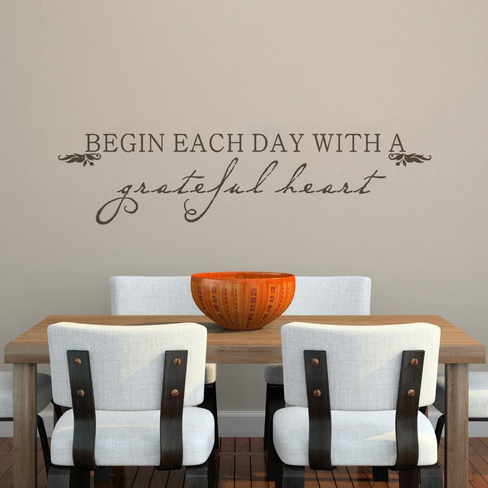 BATTOO Wall Decals Begin Each Day With A Grateful Heart Inspirational Dining Room Bathroom Stickers Decor 22 X 5 XS In From Home