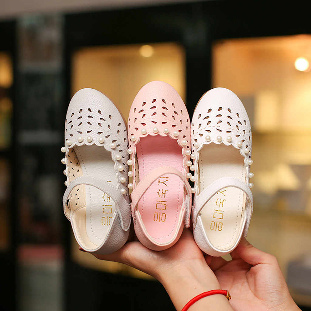 Children Shoes Toddler Baby Girls Shoe Fashion Casual Spring Shoe Hollow Out Pearl Solid Simple Shoes Single Princess Sandals