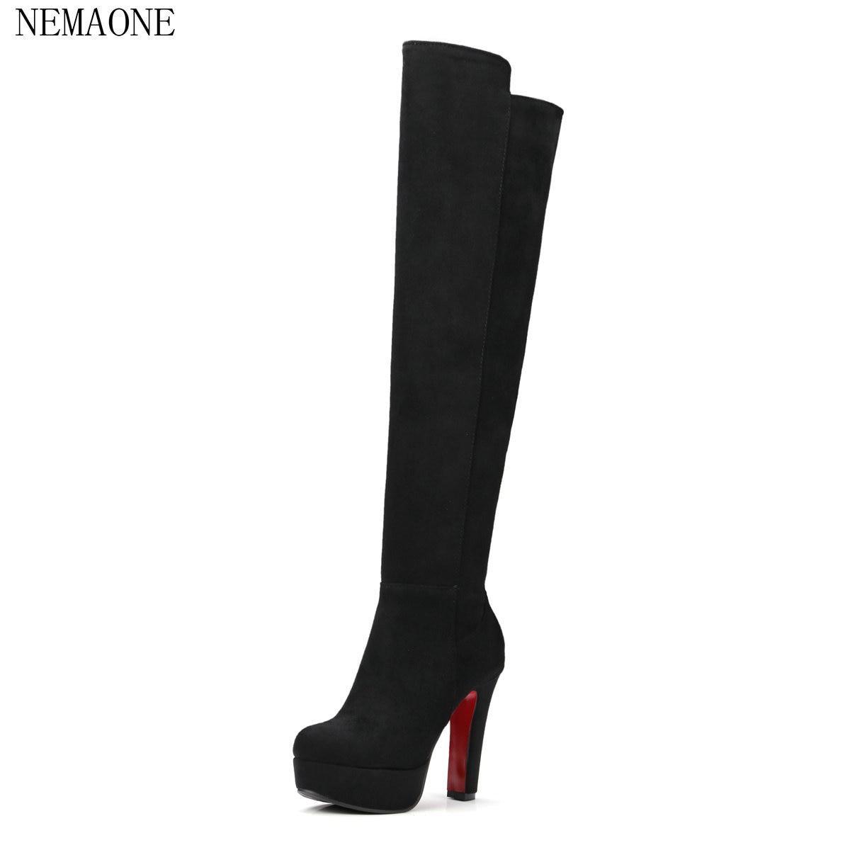 NEMAONE Size 34-43 New spring autumn thigh high women boots platform round toe 11.5cm thin high heels the knee boots