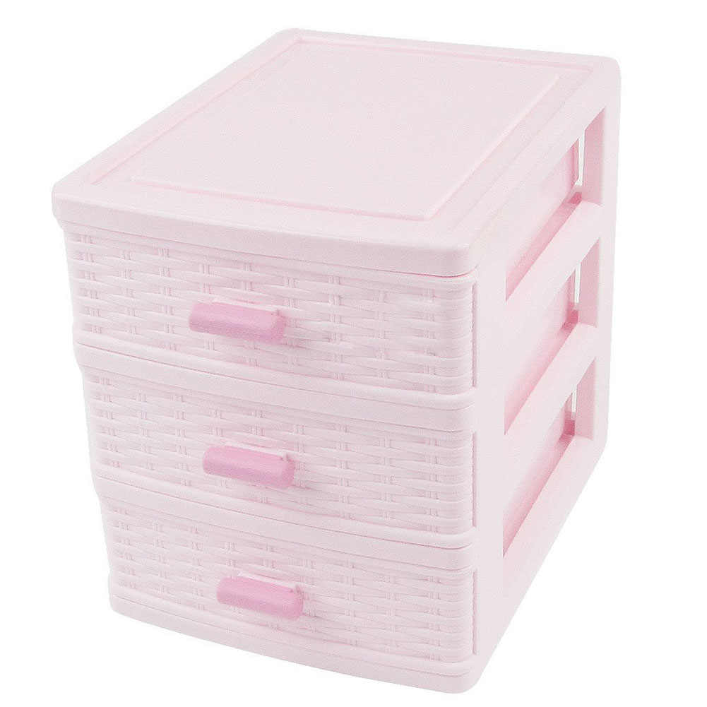 Plastic Drawer Designed 3 Compartment Jewelry Storage Box Pink