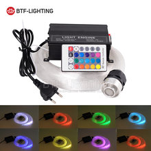 16W RGBW 0.75mm*50pcs*(2m+3m+4m+5m) LED Fiber optic light Star Ceiling Kit optical lighting+RF 24key Remote engine+Crystal(China)