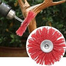 Escova de fio de aço abrasiva, cabeça de polimento de nylon, roda, haste para móveis, escultura de madeira, ferramenta rotativa de moagem