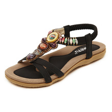 2016 New Summer Bohemian Sandals Ethnic Beaded Comfortable Breathable Flat Shoes Large Size Black Beige