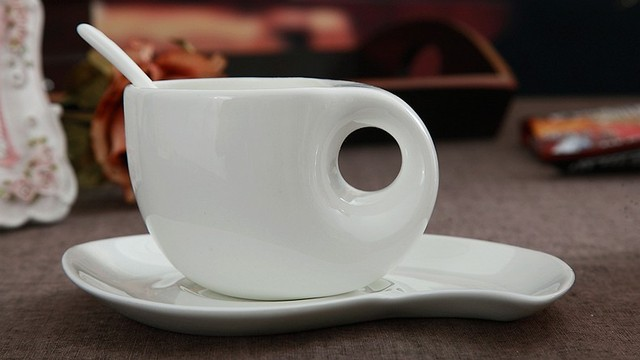 Plain White Bone China Coffee Cup And Saucer Set Thin Novelty Cups Creative Water