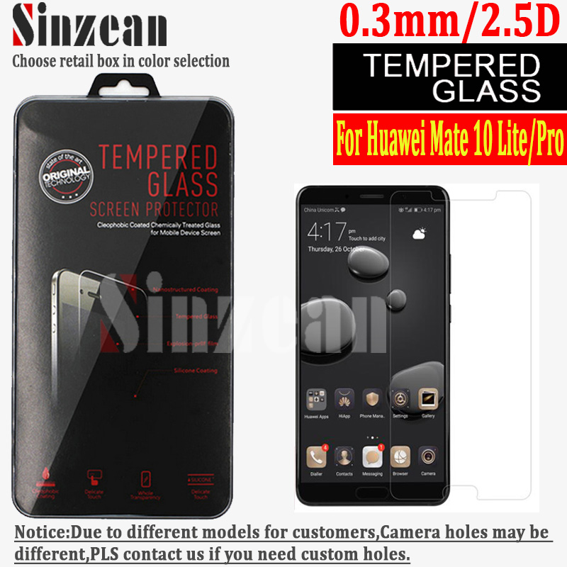 Sinzean 100PCS For Huawei mate 10 lite Pro tempered glass screen protector 2 5D 9H 0