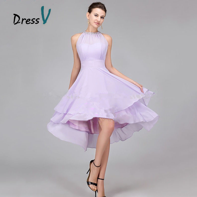 Cheap Lavender Chiffon High Low Bridesmaid Dresses 2017 Hot Sale