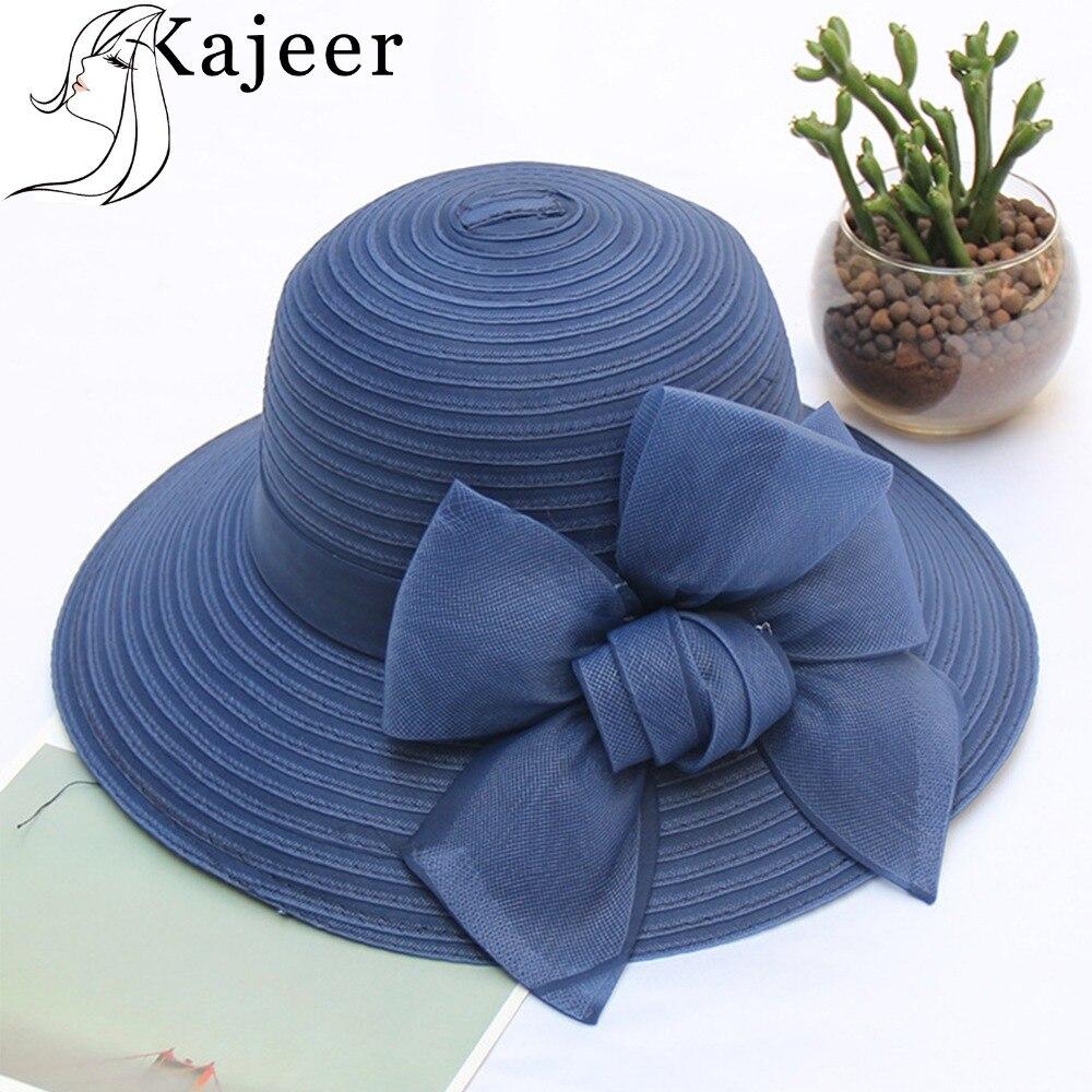 7c1131a397c07 Kajeer Wide Bow Solid Brim Churchs Sun Hat for Women Solid Floral Summer  Beach Cap Lady