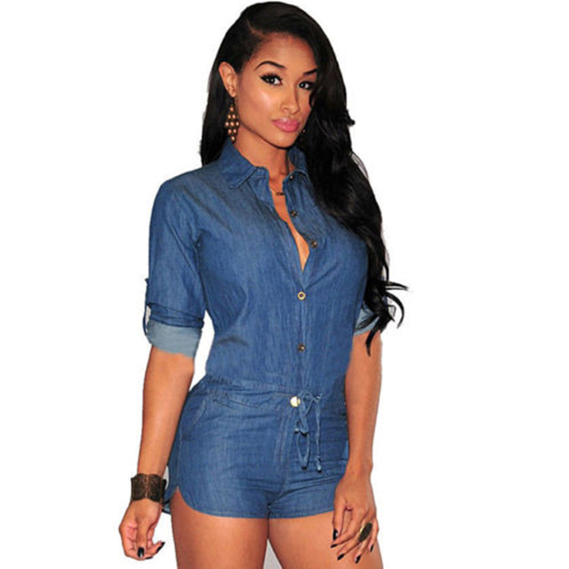 Women ladies Slim denim Playsuit fashion summer long sleve button turn-down collar casual Jumpsuit rompers