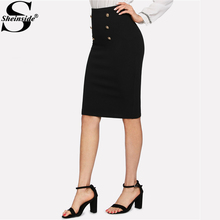 Black Double Button Women Skirt High Waist Knee Length Solid Pencil Skirt