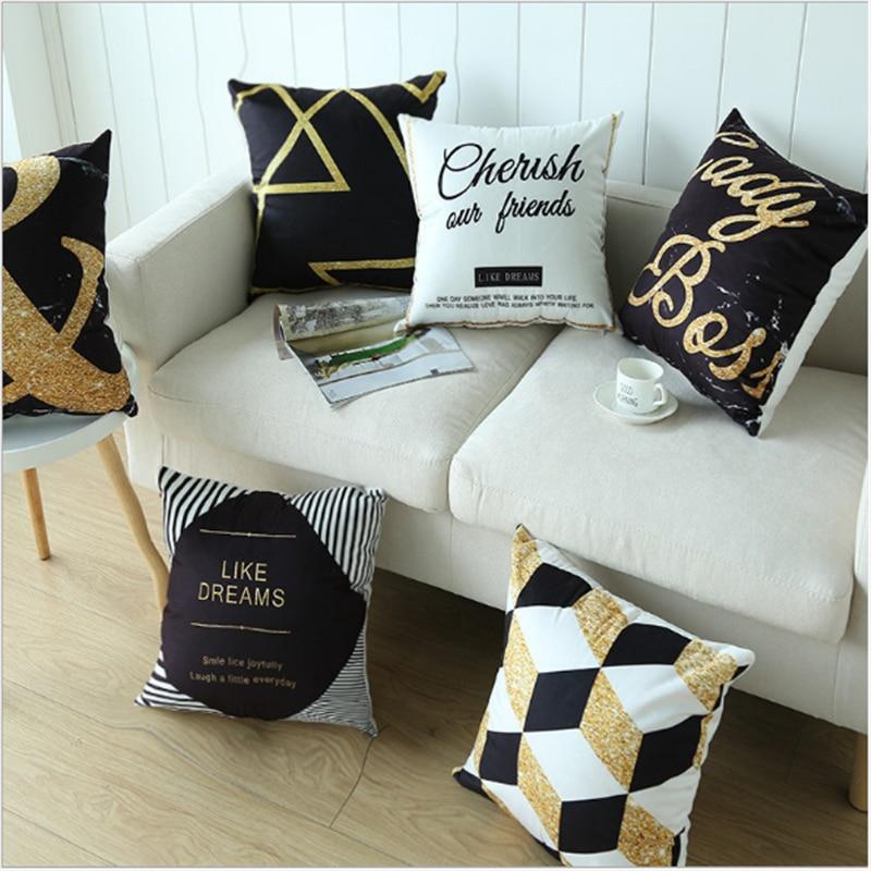Nordic Ins wind black gold pillowcase Car cushion ins plush office sofa bedroom cute pillow Home decoration 45x45cm