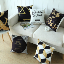 Nordic Ins wind black gold pillowcase Car cushion ins plush office sofa bedroom cute pillow Home decoration 45x45cm
