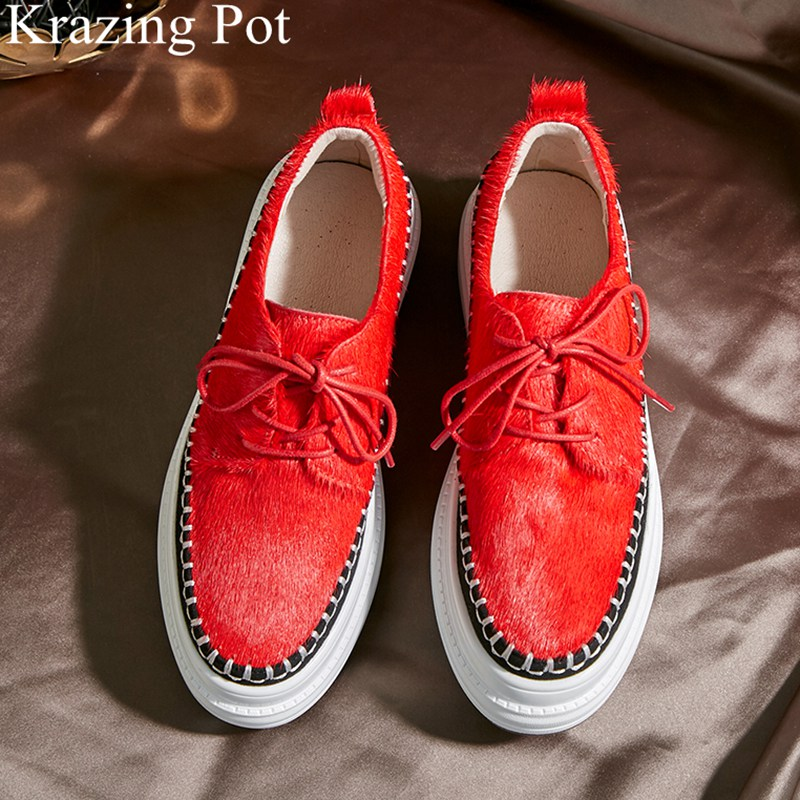 2019 brand spring shoes fur lace up casual loafer round toe sneaker elegant wedge increasing platform women vulcanized shoes L08