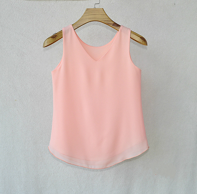 Fashion Women Brand 2018 Summer Sexy Low-cut Tanks Tops sleeveless V-neck Chiffon blouse Plus Size XXL Candy colors Camisole
