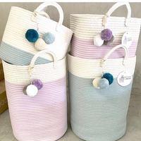 2 Style Cotton Woven Storage Basket Handmade Laundry Baskets Baby Toy Storage Basket Desktop Storage Basket Hot Sale
