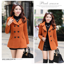 Woolen Double Breasted Turn-down Collar Trench Coat