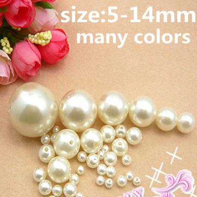 Resina rodada ABS Imitação de Pérolas 5-14mm Marfim Branco Contas Loose Com Furo de Alta Brilho DIY Artesanato Jóias fazer Decorações