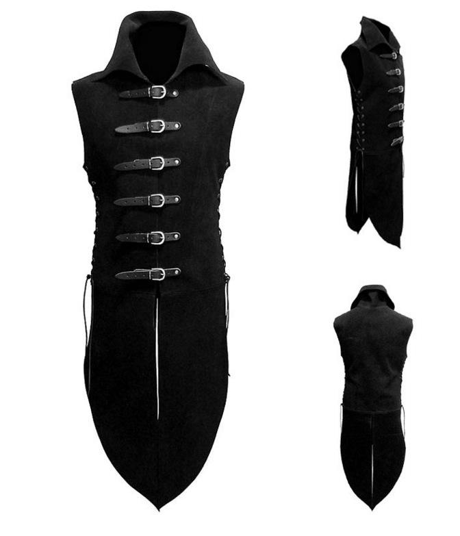 Free Shipping Men Middle Age Renaissance Knight Solider Armor  Vest Medieval Landlord High Neck Top Shirt Leather Button Costume