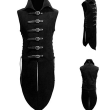 Free Shipping Men Middle Age Renaissance Knight Solider Armor Vest Medieval Landlord High Neck Top Shirt