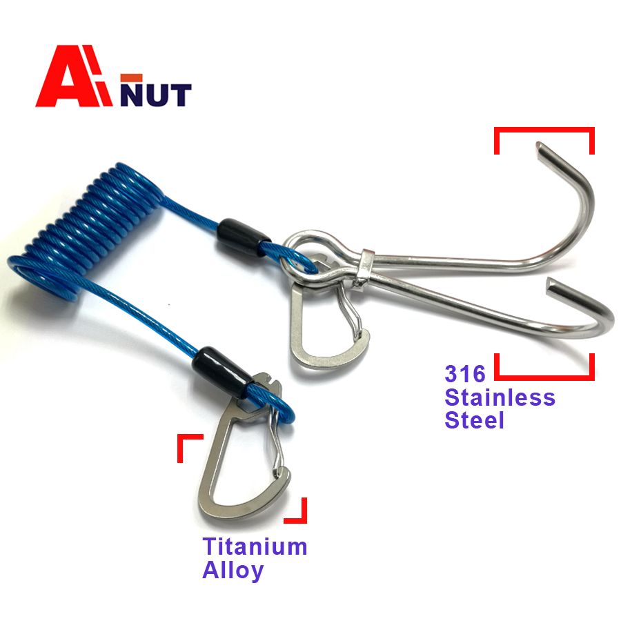 316 Stainless Steel Diving Double Reef Hook , Spring wire rope titanium alloy Snap Hook ,C030-04