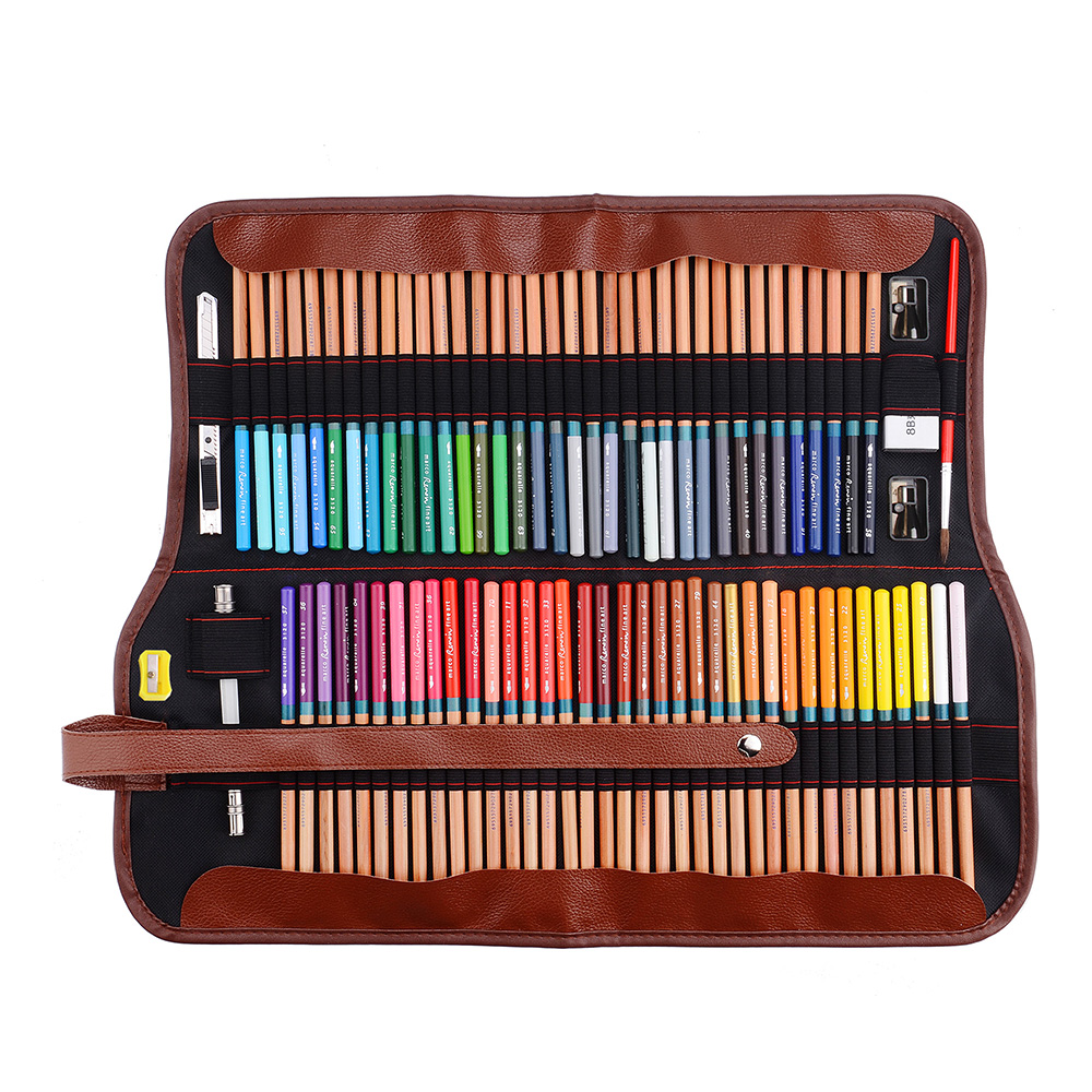 Marco Renoir crayon de couleur 72 couleurs ensemble crayons aquarelle Non toxique avec étain en métal + pochette enroulable sac à stylo en toile pour artiste