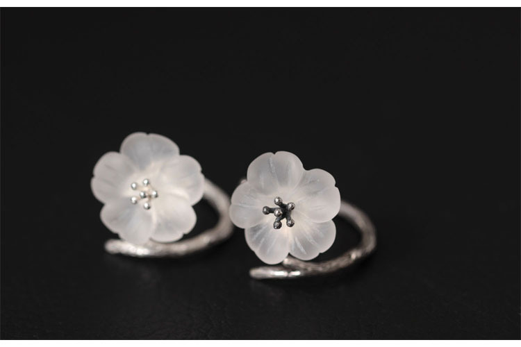 925 Sterling Silver White Crystal Astilboides Tabularis Flowers Open Rings For Women Vintage Style Lady Sterling-Silver-Jewelry
