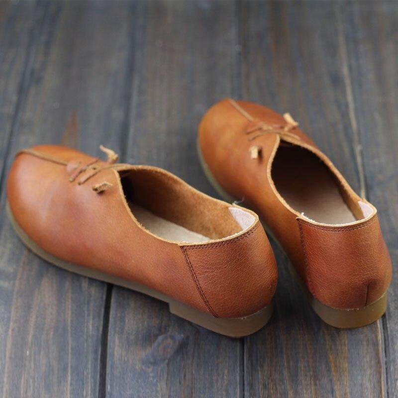 De Ballet Chaussures Sur Toe Plates Slip Femme Dames 2018 Cuir Brown coffee Ronde Femmes Ballerines Ceyaneao Véritable En Appartements wY5XqxS