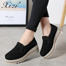 цена на XIZI 2018 Womens platform loafers Shoes ladies Sneakers Leather Suede Casual Slip on Flats Creepers shoes woman big size 35-42