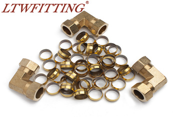 """LTWFITTING Value Pack 7/8"""" Brass Compression Sleeves Ferrels and 7/8"""" OD 90 Degree Compression Union Elbow"""