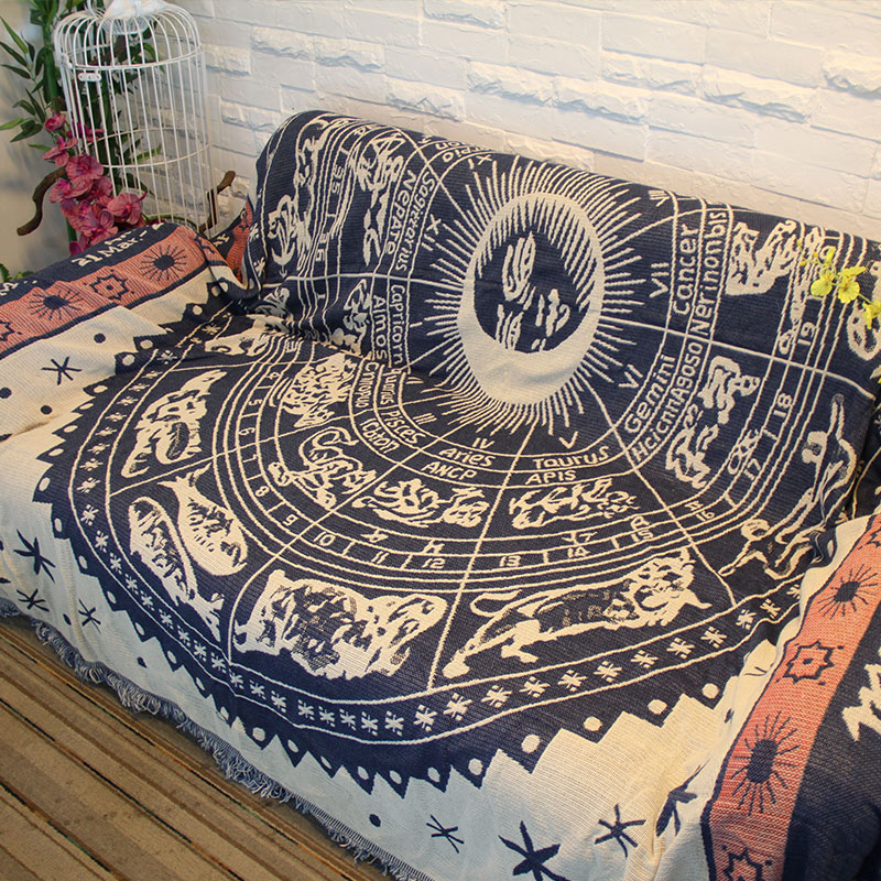 130x180cm Constellation Large Sofa Blanket  Cotton Comping Hiking Carpet Warm Bedspread Tarot Altar Tablecloth Astrology