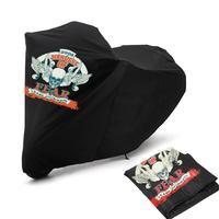 Partol Black XXL Twin Man Skull Pattern Motorcycle Cover Waterproof Fadeproof UV Against Rain Snow Dust Sun 180T For Motorcycles