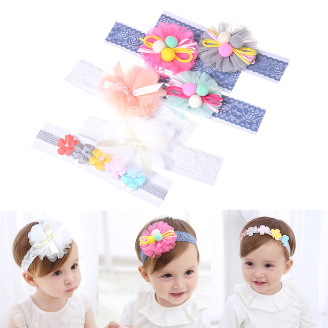 73fef47d149 1 PC Cute Baby Girls Lace Flower Headband Hairbands Kids Headwear Hair  Accessories 6 Colors Fashion