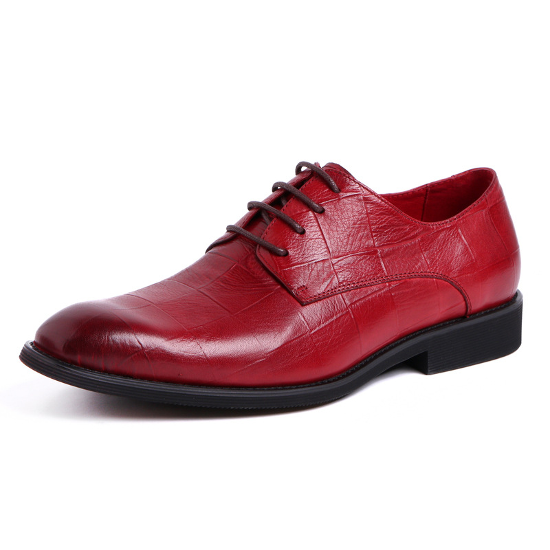 Handmade Men Genuine Leather Shoes Wine Red Dress Oxfords for Man Fashion High Quality Leather Shoes formal shoes
