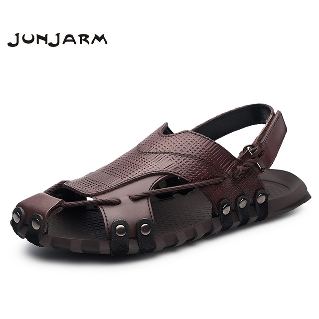 d7f20a4a26ad JUNJARM Handmade 2018 Men Fashion Sandals Summer Men s Slippers Genuine  Leather Men Beach Shoes Casual Breathable Zapatos 38-47