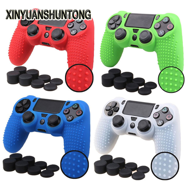 XINYUANSHUNTONG Game Case 9-In-1 Anti-Slip Silicone Cover + 8 Thumbsticks Caps For Dualshock 4 for PS4 Controller
