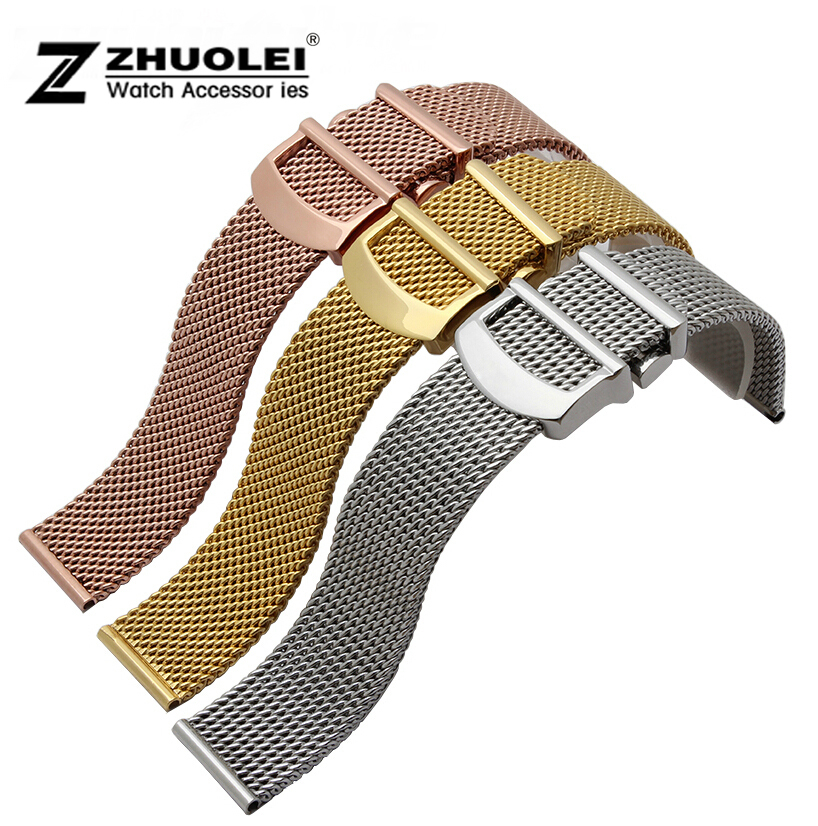20 22mm silver gold rose gold 3 kinds color Premium Stainless Steel Shark Mesh Bracelet Watch Band Bracelets for IW356505 model 8 10 12 14 16mm 18mm 20mm 22mm 24mm black silver gold rose gold ultra thin stainless steel milan mesh strap bracelets watch band