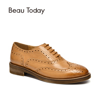 BeauToday Oxfords Genuine Cow Leather Brogue Style Lace up Spring Autumn Top Brand High Quality Women Flats 21419