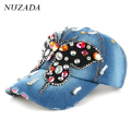 Brands NUZADA Hip Hop Hats Rhinestones Women Ladies Girls Baseball Cap Multicolored Glass Denim Snapback Caps Bone szm-012
