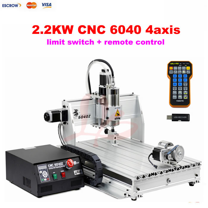Port USB CNC 6040 2200 W 4 axes CNC machine à bois pour pierre métal cuivre avec fin de course CNC télécommande