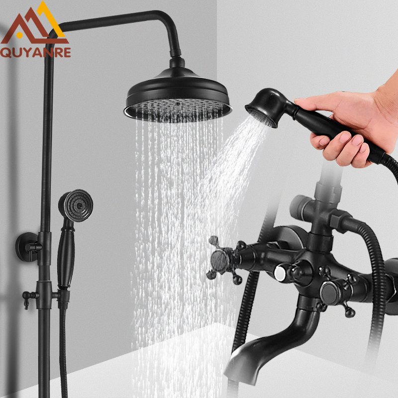 Quyanre Black Shower Faucets Set Wall Mount Bronze Black Shower Kit 3-way Mixer Tap Swivel Tub Spout Black Bath Shower Mixer Kit quyanre matte black shower faucet set 4 way shower with commodity shelf bidet spray swivel tub spout 4 way mixer tap bath shower