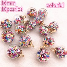 New 10pcs 16mm Colorful Transparent Ball Glass Star Charms Pendant Find Hair Accessories Jewelry Earring #01