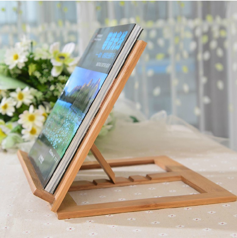 все цены на Novelty Wooden Pad Holder  Adjustable Angle Foldable Portable Reading Book Stand Holder Document for IPAD Free Shipping онлайн