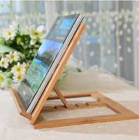 Novelty Wooden Pad Holder Adjustable Angle Foldable Portable Reading Book Stand Holder Document For IPAD Free