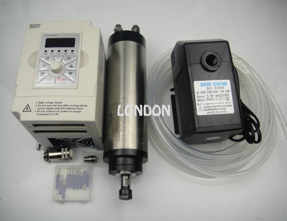 Kit mandrino CNC ER11 800w motore mandrino raffreddamento acqua + punte per incisione cnc + inverter 1.5KW + 1 pompa acqua + 1 tubo acqua