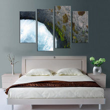 4 panel framed stone cliffs under the sea landscape painting mural artist decoration living room canvas printing modern