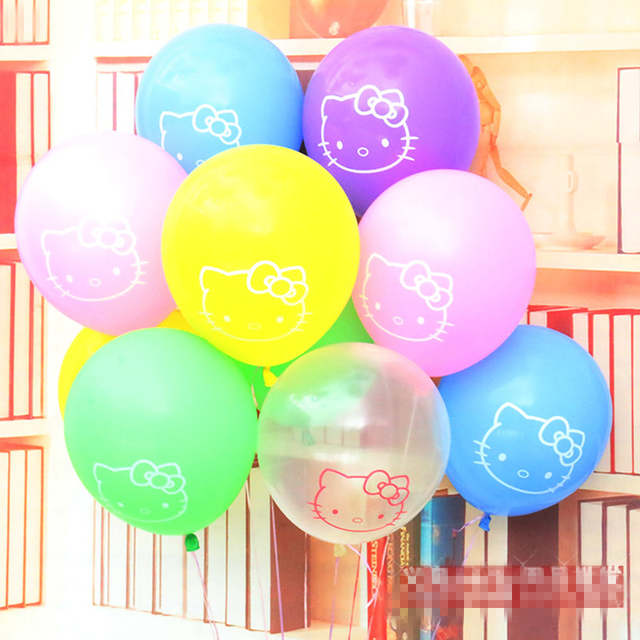 Online Shop 10pcs Kitty Balloons 12 Mix Colors Print Cartoon Baloon Birthday Party Wedding Balaos Decor Gifts For Kids Toys Latex Balloon