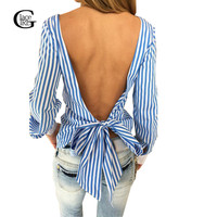 Cute Bows Women Blouses 2016 Fashion Striped Open Back Sexy Tops Spring Autumn Long Sleeve O