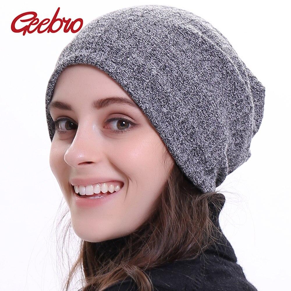 Geebro Winter Women's Bonnet   Beanies   Cotton Solid Stripe Hats For Ladies Soft Comfortable   Skullies     Beanie   Cap DQ411M