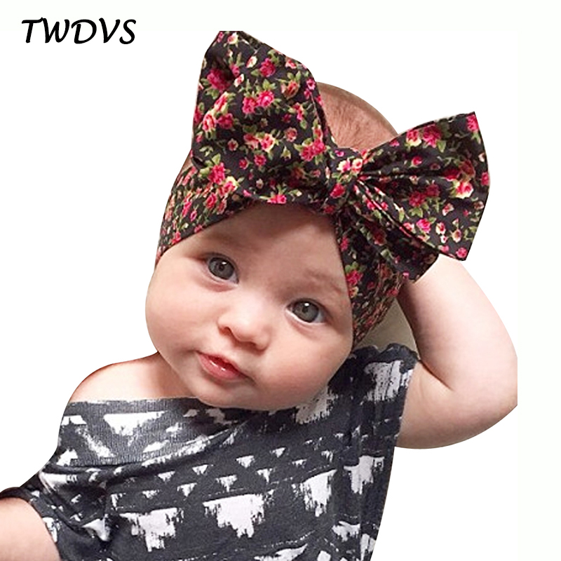 TWDVS Kids Big Bow Knot Flower Hair Band Barn Elastic Headband Girls Bomull Hår Tillbehör Ring Flower Headwear W221
