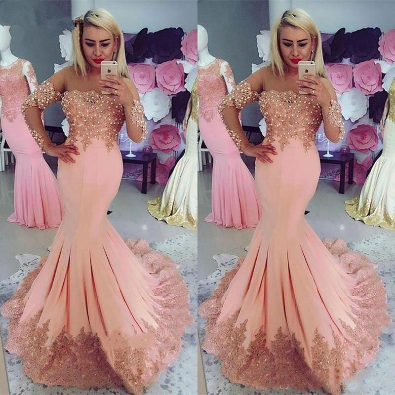 Mermaid Long Sleeve Bead Lace   Prom     Dresses   2019 Evening Gowns Women Party Red Carpet   Dress   Celebrity Formal Gown
